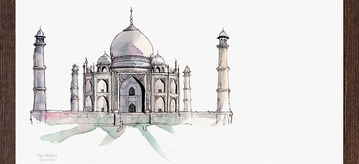 07-Taj-Mahal-India-Mucahit-Gayiran-Architectural-Landmarks-Mixed-Media-Art-Part-2-www-designstack-co