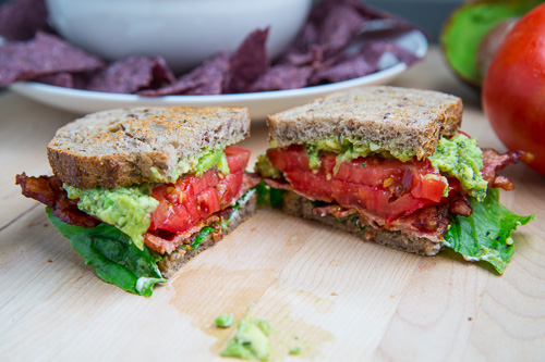 Pesto Guacamole BLT (Bacon, Lettuce and Tomato) Sandwich