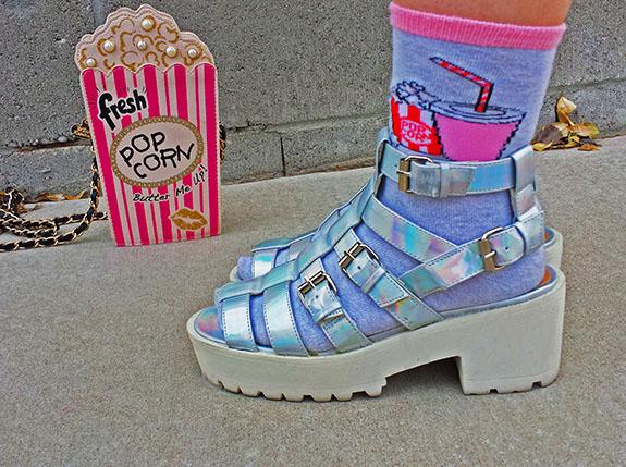 Junk Food Socks with platform sandals