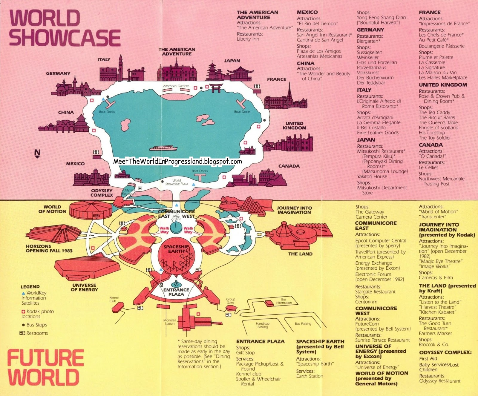 note the building for horizons is already shown on the map as a coming attraction in 1983 the living seas pavilion would go into that open lower right