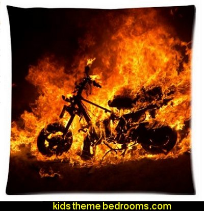 ghost rider motorbike burning fire flaming motorcycle flames Zippered Pillow Cases Cover