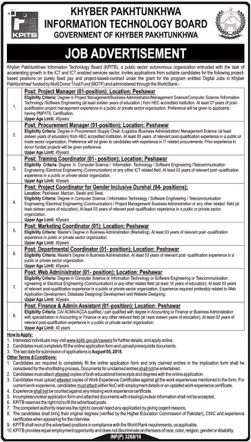 KPITB Jobs 2019 Khyber Pakhtunkhwa Information Technology Board Jobs 2019 Apply Online