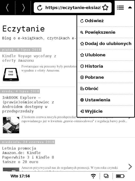 PocketBook Basic Touch 2 Save & Safe – rozwijane menu przeglądarki