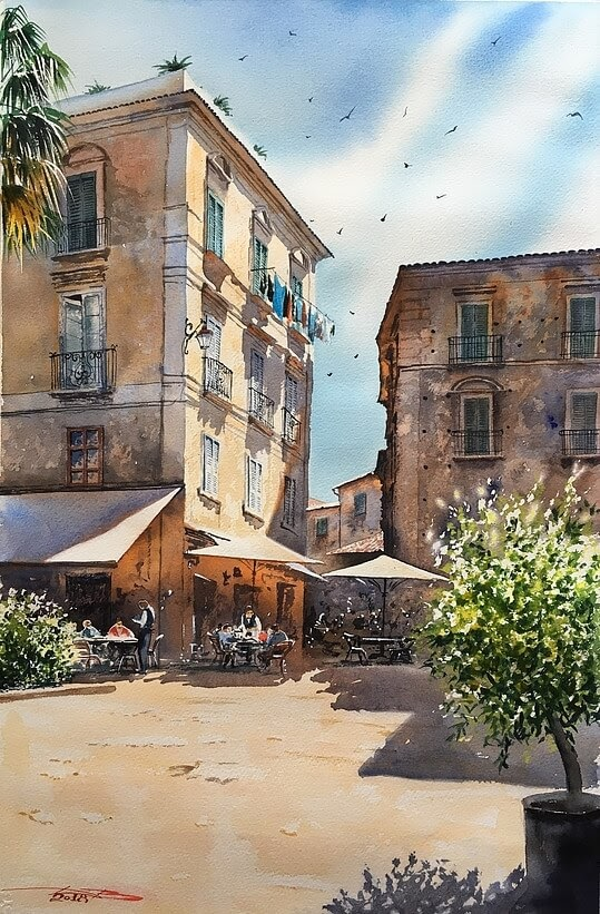 02-Tropea-Italy-Igor-Dubovoy-A-Love-for-Travelling-and-Realistic-Watercolour-Paintings-www-designstack-co