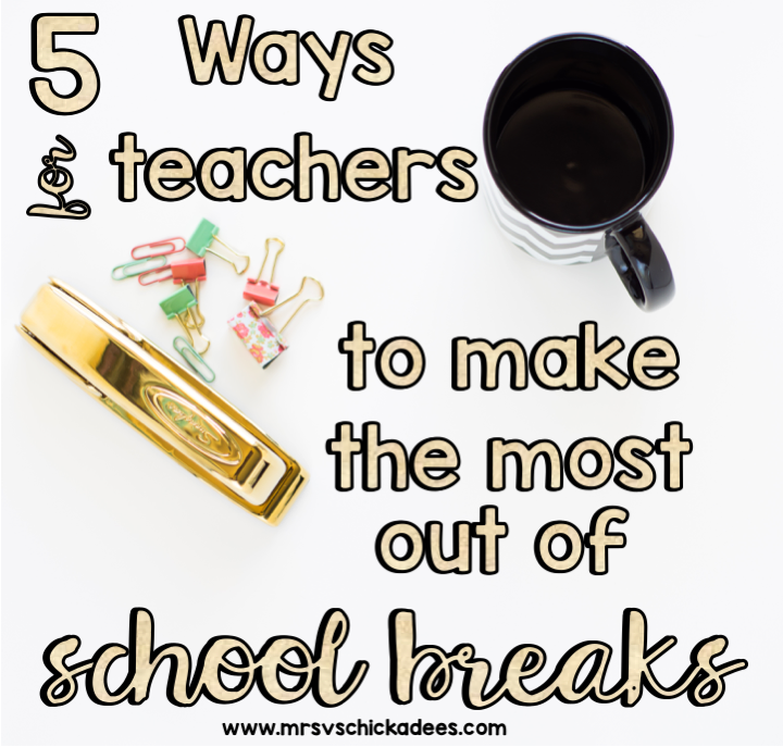 Teacher tips for making the most out of school breaks. Utilizing our time off, getting chores down and recharging so we don't suffer from teacher burn out