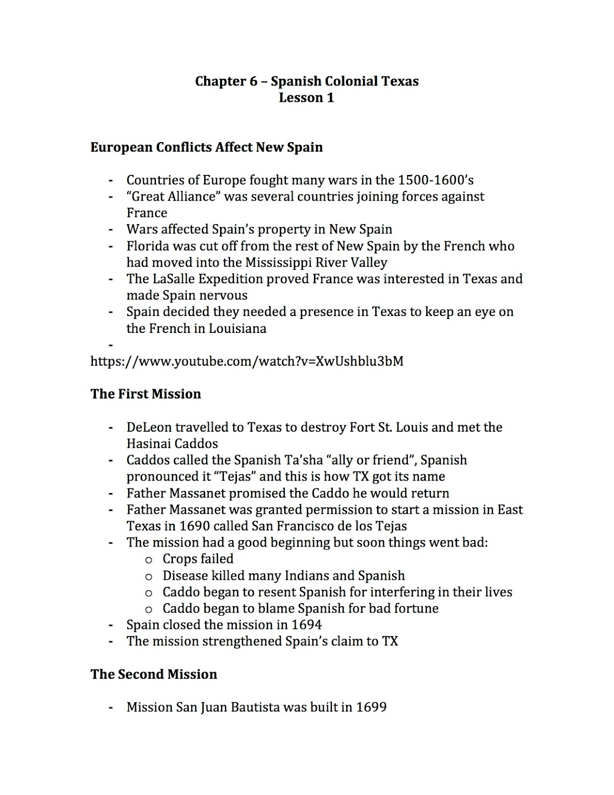 Ehms Texas History Chapter 6 Notes Mission Project And