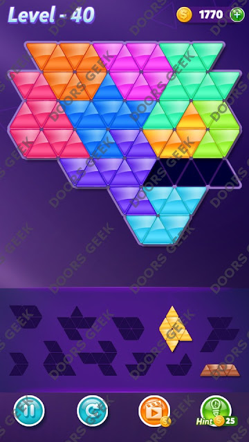 Block! Triangle Puzzle Master Level 40 Solution, Cheats, Walkthrough for Android, iPhone, iPad and iPod