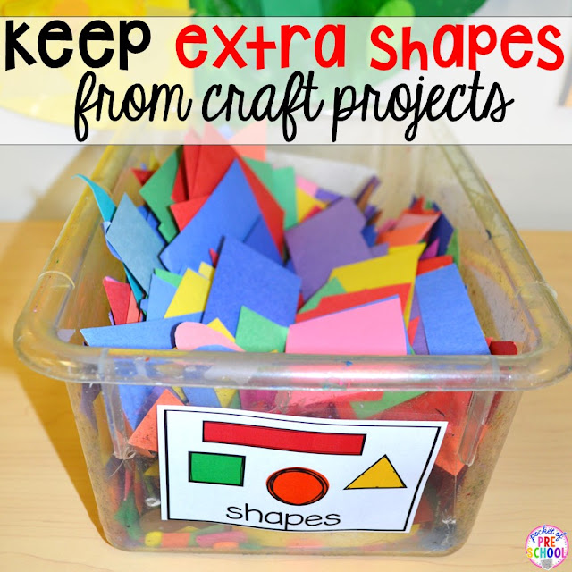 If there are leftover shapes (from your paper punches or students' work), store them in a plastic bin for future craft projects.