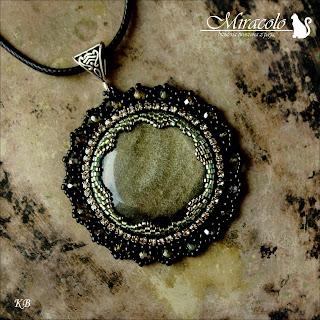 wisiorek z obsydianem złotym, obsydian złoty, obsidian pendant