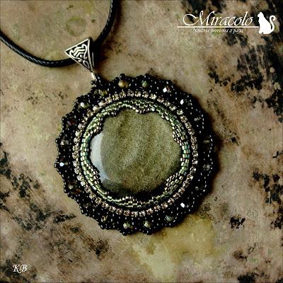 wisiorek z obsydianem złotym, obsydian złoty, obsidian pendant, Miracolo