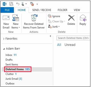 Delete Item folder Outlook