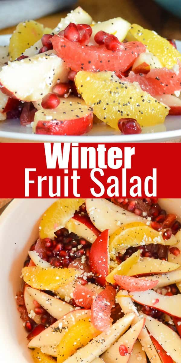 Winter Fruit Salad is filled with Oranger, Grapefruit, Pears, and Pomegranate Seeds with an easy Feta Poppy Seed Dressing. A favorite for Thanksgiving and Christmas from Serena Bakes Simply From Scratch.
