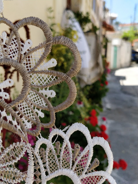 lace and geraniums, Omodos Cyprus