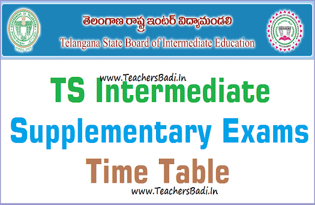 TS Inter,Supplementary Exams,Time Table