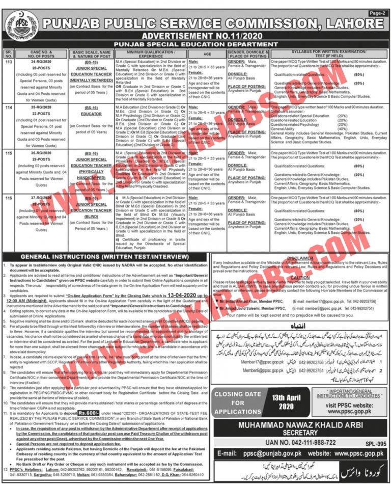 Punjab Teaching Jobs in April 2020 Online Apply