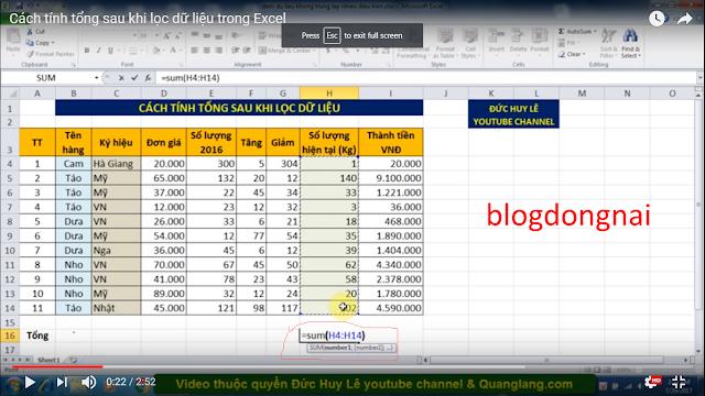 Cách Tính Tổng Sau Khi Lọc Dữ Liệu Trong Excel