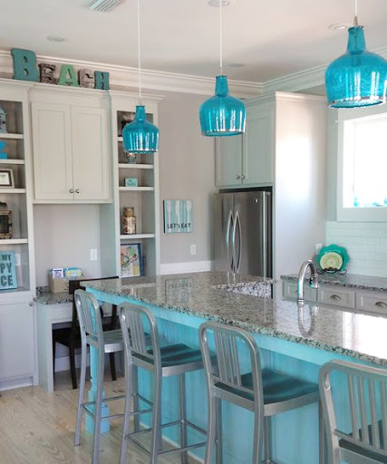 Turquoise Blue Glass Pendant Light in Kitchen