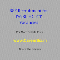 BSF Recruitment for 176 SI, HC, CT Vacancies