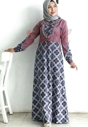 Gamis batik kombinasi kain polos wanita muslimah