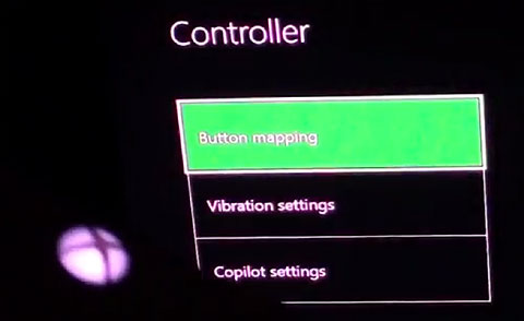 Screen shot reading Controller. Three boxed items read Button mapping, Vibration settings and Copilot settings.