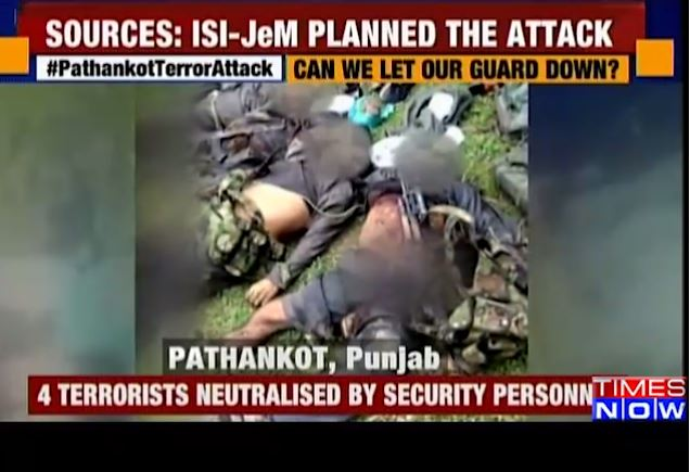 Screengrab of  neutralized Terrorists, broad-casted by Times Now on Jan 3, 2016 ,  When Live Op was yet to conclude?