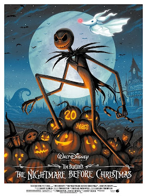 The Nightmare Before Christmas 20th Anniversary Blue Standard Edition Screen Print by Jeff Soto