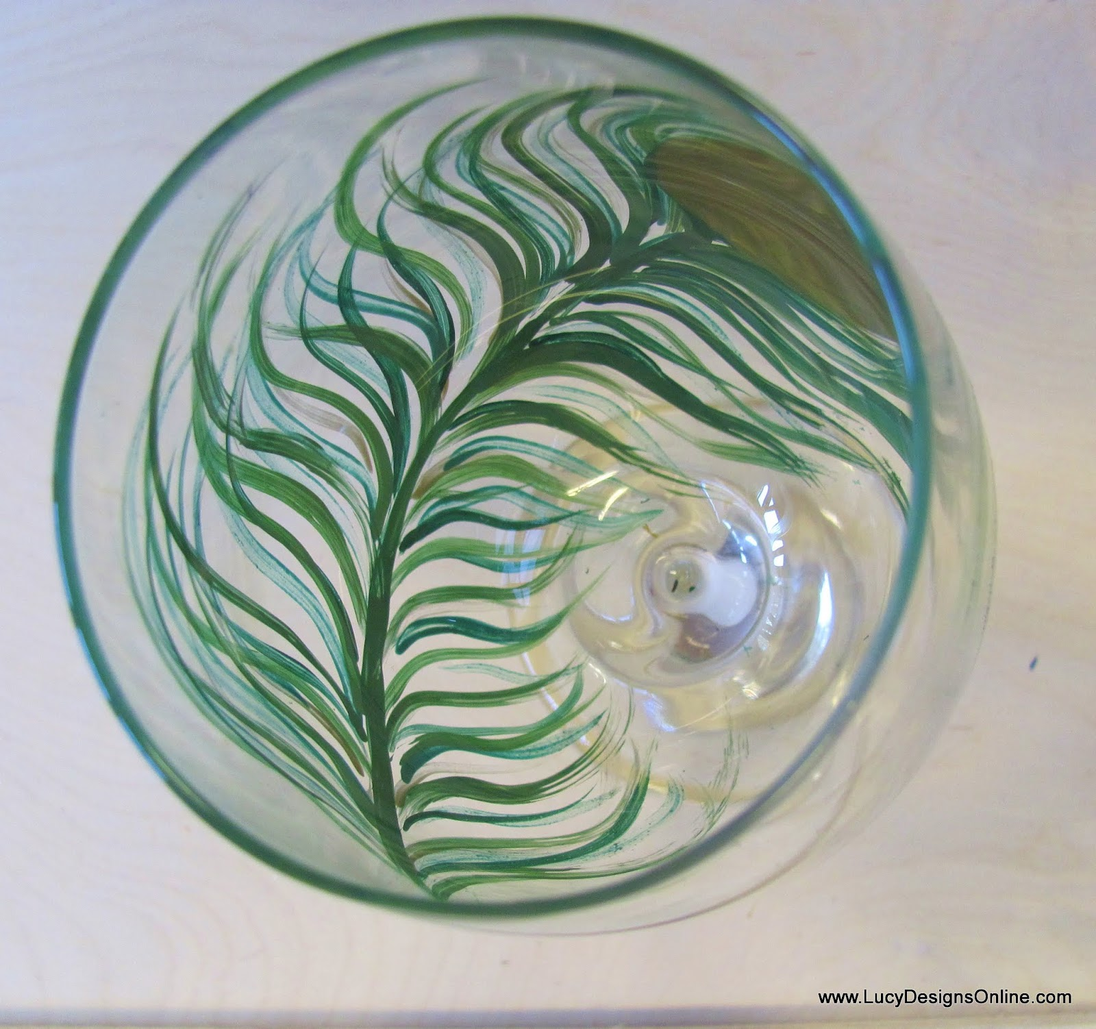 painted peacock feather wine glass