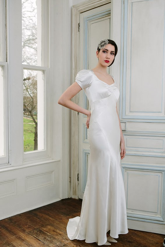 91f93754f0de 'VIOLETTE', a 1930s vintage wedding dress design in slinky and  sophisticated satin