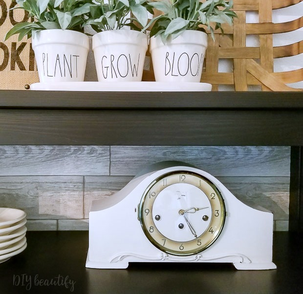 white painted mantle clock