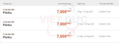 bảng giá Jetstar khuyến mãi vé máy bay Hà Nội-Pleiku giá 7 ngàn