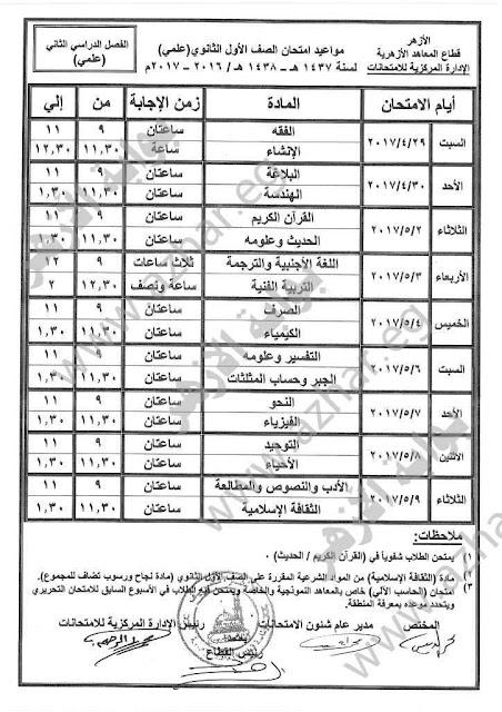 بالصور جدول إمتحانات الصف الاول الثانوى الازهرى 2017 اخر العام (علمى - أدبى)