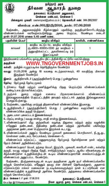 Applications are invited for Watchman Post in Tamilnadu Water Resources Organisation (Water Resources Department) Chennai
