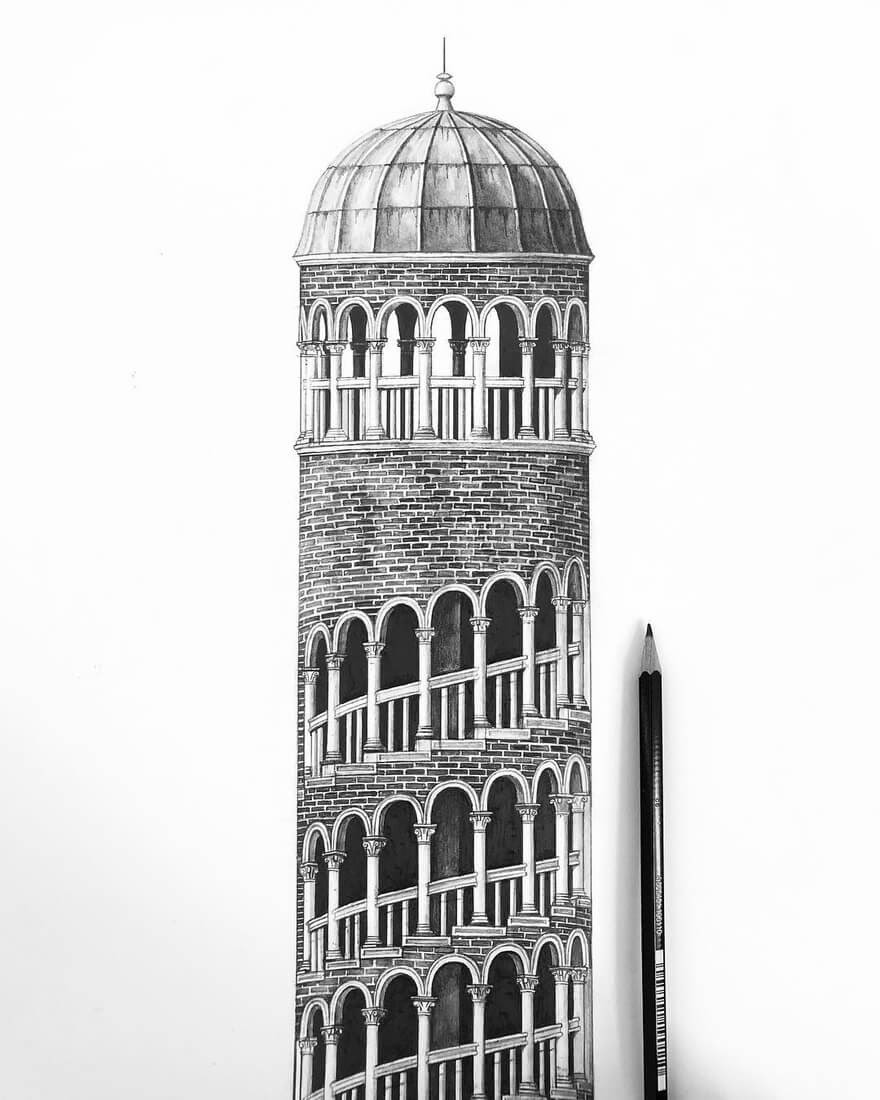 10-Scala-Contarini-del-Bovolo-Venice-Italy-Minty-Sainsbury-Traditional-Architecture-Drawings-in-Pencil-www-designstack-co