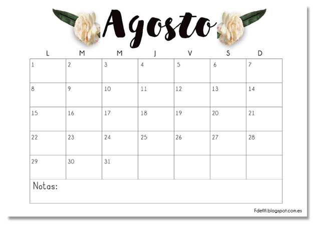 Calendario gratuito descargable e imprimible para agosto 2016 | Blog F