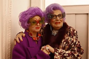Stella McCartney celebrating Christmas in the company of Dame Edna