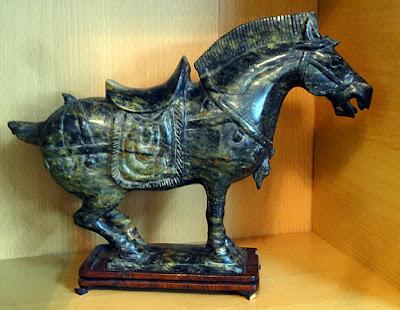 Dark nephrite jade horse