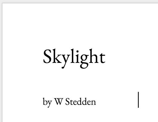 Skylight Chapters 1 & 2