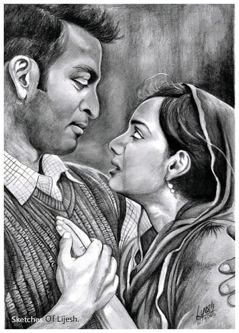 pencil drawing prithviraj and samvritha sunil