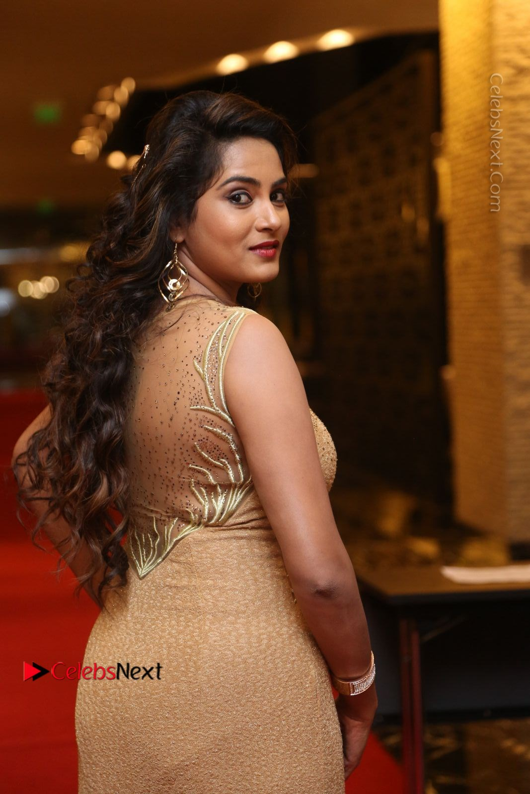 Himaja Stills in Golden Spicy Long Dress at SIIMA Short Film Awards 2017