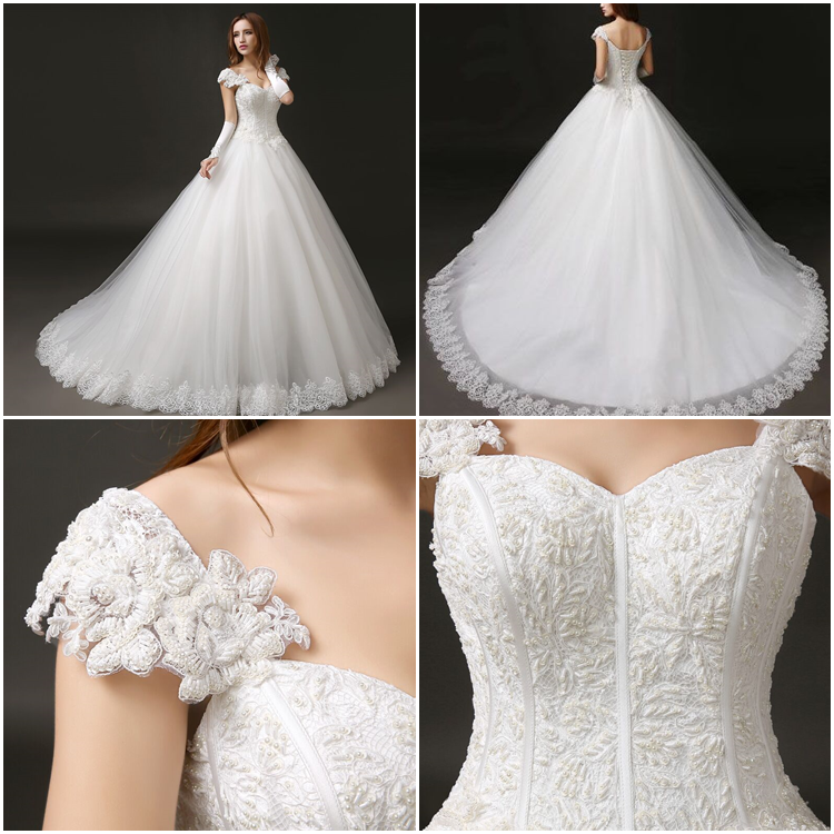 Charming/Simple Sweetheart Cap-Sleeve Ball Gown Straps Brush Train Wedding Dress