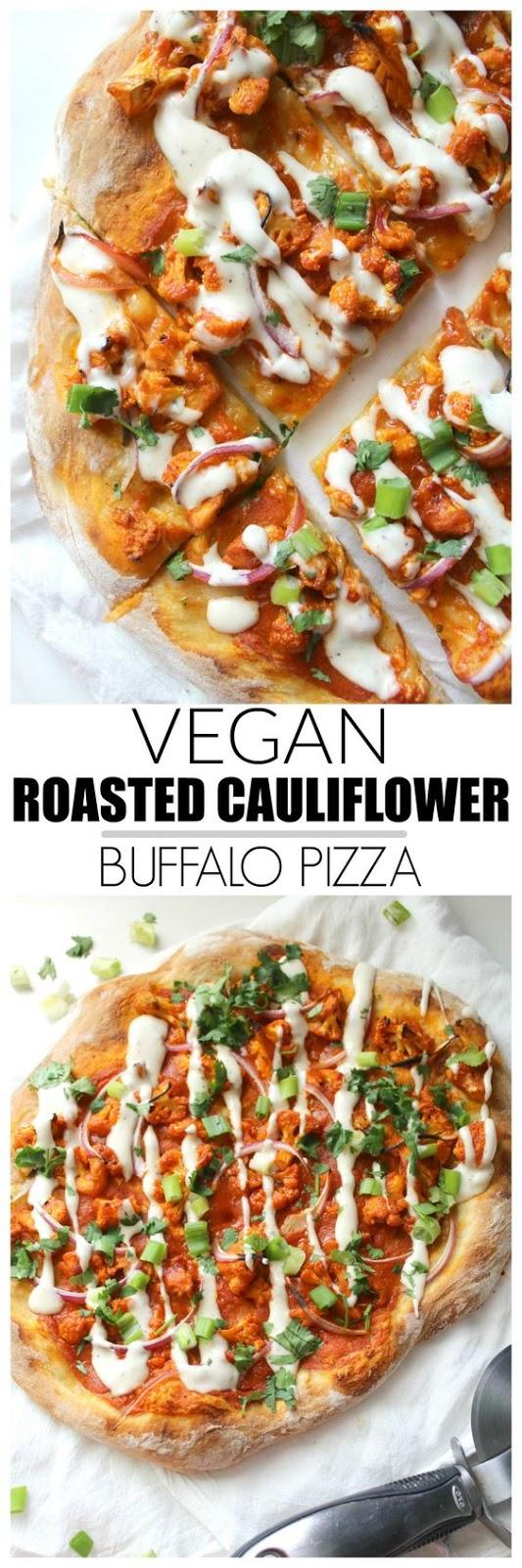 VEGAN ROASTED CAULIFLOWER BUFFALO PIZZA