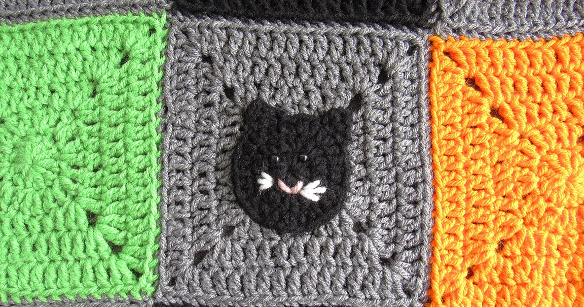 Halloween Cat Applique And Granny Square Free Crochet Pattern