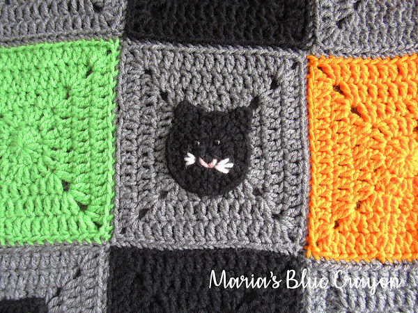 Halloween Cat Applique and Granny Square - Free Crochet Pattern
