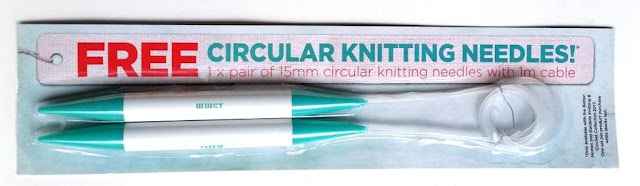 "A set of 15 mm plastic circular knitting needles in it's cardboard-backed blister pack. The needles are white with teal coloured points. The cable is clear plastic and coiled in a circle on the right hand side of the package. The label says ""FREE Circular Knitting Needles! 1 x pair of 15 mm circular knitting needles with 1 m cable."" The fine print on the right hand side says ""Only available with the Better Homes and Gardens Knitting and Crochet Collection 2017. One set per product purchase while stocks last."""