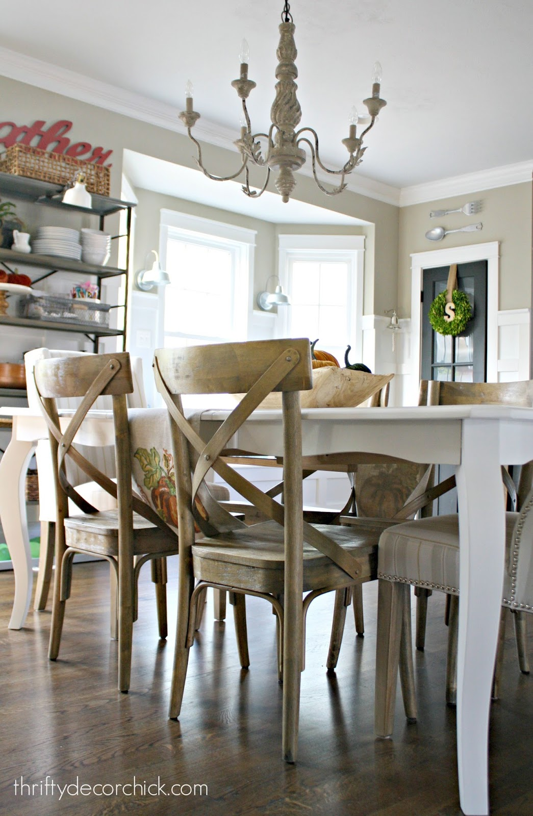 How to paint a kitchen table from thrifty decor chick white kitchen table wood chairs watchthetrailerfo