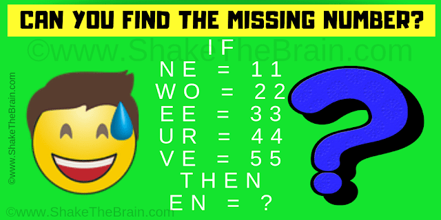 If NE = 11, WO = 22, EE = 33, UR = 44, VE = 55 Then EN =?
