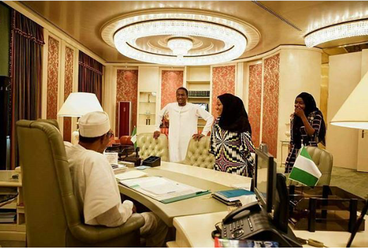 President Buhari's children visit him at the office