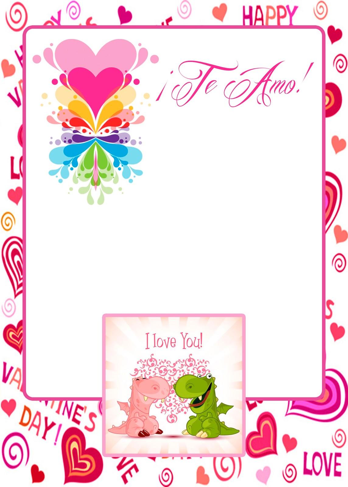 Tarjeta de Amor Dragones Enamorados para San Valentín