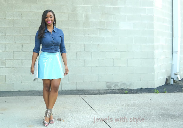 blue leather skirt, patent leather skirt, denim button up shirt, denim shirt, how to wear a denim shirt, how to wear a chambray shirt, denim wardrobe essentials,  denim capsule wardrobe, denim staples, jean staples for wardrobe, how to wear a jean shirt, jewels with style, columbus personal stylist, columbus fashion blogger, columbus style blogger, black fashion blogger, black style blogger