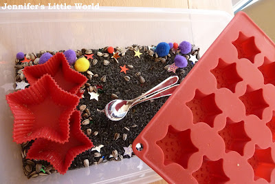 Firework themed sensory tub for toddlers